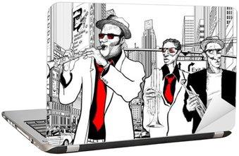 Naklejka na Laptopa Zespół jazzowy w ulicy Nowym Jorku