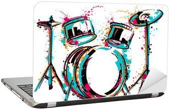 Naklejka na Laptopa Zestaw perkusyjny z odpryskami w stylu akwareli. Kolorowe ręcznie rysowane ilustracji wektorowych