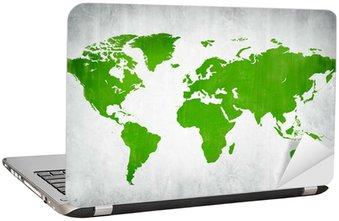Naklejka na Laptopa Zielone kartografii świata na białym tle