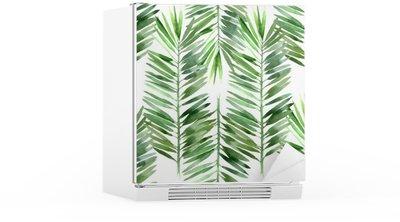 Naklejka na Lodówkę Akwarela palma liści bez szwu
