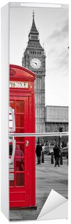 Naklejka na Lodówkę Czerwona budka telefoniczna w Londynie z Big Ben w czerni i bieli