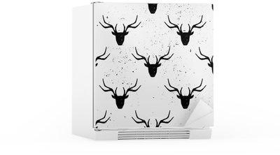 Naklejka na Lodówkę Deer Head Silhouette Seamless Pattern