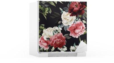Naklejka na Lodówkę Jednolite kwiatowy wzór z różami, akwarela. Vector illustrat