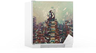 Naklejka na Lodówkę Mężczyzna czyta książkę siedząc na stos książek, koncepcja wiedzy, ilustracja malarstwo