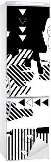 Naklejka na Lodówkę Modna czarno-białe tło geometryczne. Styl retro tekstury