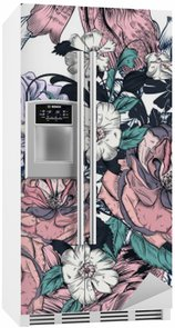 Naklejka na Lodówkę Piękny szwu z ręcznie rysowane róż i kwitnie