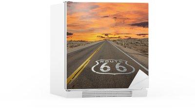 Naklejka na Lodówkę Route 66 chodnik znak pustyni Mojave sunrise