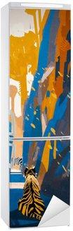 Naklejka na Lodówkę Tygrys stalking w wąskiej skalnej ściany, ilustracja digital painting