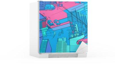 Naklejka na Lodówkę Urban life collage