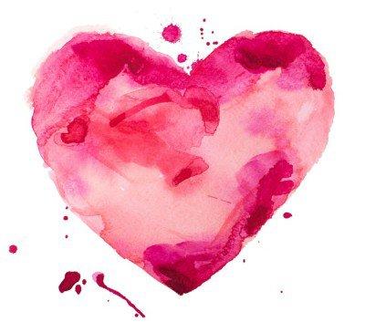 Naklejka na Ścianę Akwarela serca. Koncepcja - miłość, związek, sztuki, malarstwo