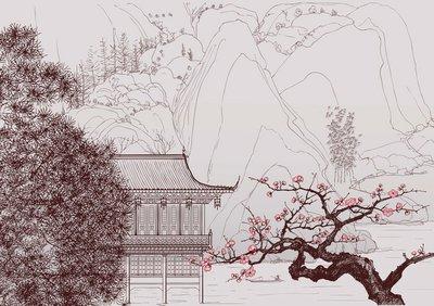 Naklejka na Ścianę Chiński krajobraz