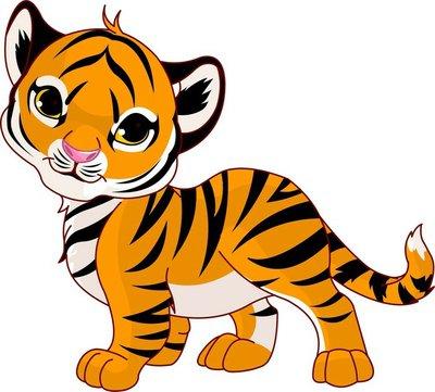 Naklejka na Ścianę Chodzenie baby tiger