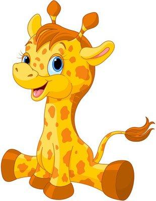 Naklejka na Ścianę Cute żyrafa cielę