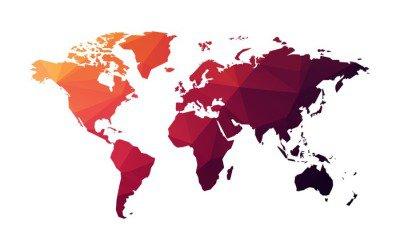 Naklejka na Ścianę Czerwone geometryczne mapa świata