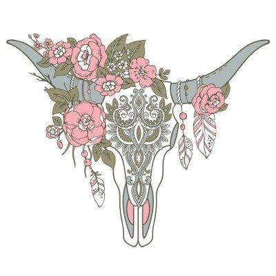 Naklejka na Ścianę Dekoracyjne Indian byka czaszki z etnicznymi ornament, kwiaty i L