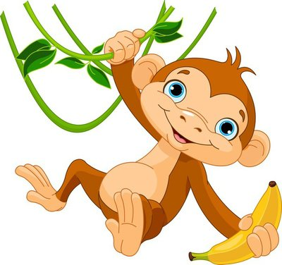 Naklejka na Ścianę Dziecko małpa na drzewie