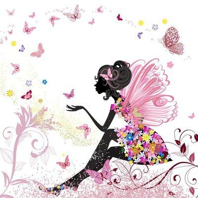 Naklejka na Ścianę Flower Fairy w otoczeniu motyli