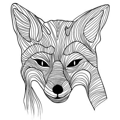 Naklejka na Ścianę Fox zwierzęcy symbol szkic