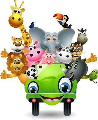 Naklejka na Ścianę Funny cartoon zwierząt określone w zielonym samochodzie