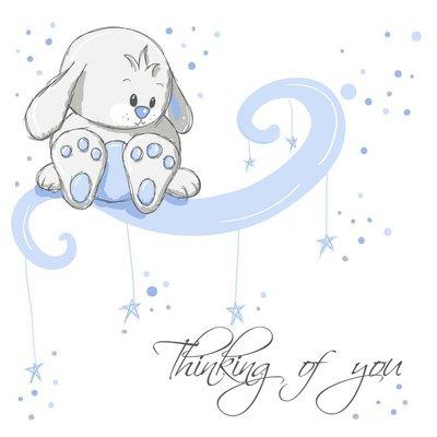 Naklejka na Ścianę Greeting card - Blue myślenie królik z was