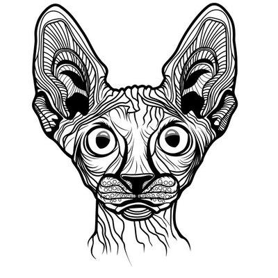 Naklejka na Ścianę Ilustracji wektorowych z głową kota
