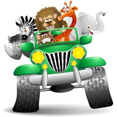 Naklejka na Ścianę Jeep z kreskówki dzikich zwierząt dzikich zwierząt sawanny na jeep