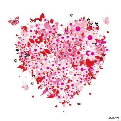 Naklejka na Ścianę Kształt serca kwiatu