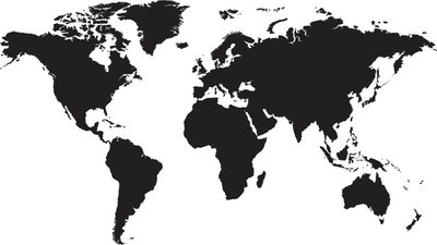 Naklejka na Ścianę Mapa świata na białym tle