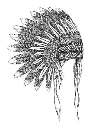 Naklejka na Ścianę Native American Indian stroik z piór w stylu szkicu
