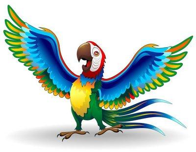Naklejka na Ścianę Pappagallo ARA śmieszne kreskówki wektora papuga ara