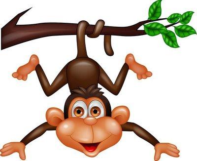 Naklejka na Ścianę Śmieszne małpa wiszące na gałęzi drzewa