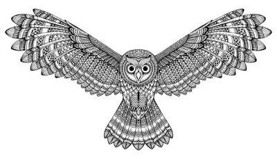 Naklejka na Ścianę Wektor ręcznie rysowane latającą sowę. Czarno-białe sztuki zentangle