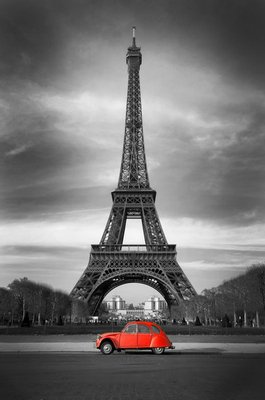 Naklejka na Ścianę Wieża Eiffla i czerwony-paris samochód
