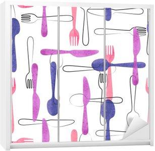 Naklejka na Szafę Akwarela sztućce szwu w różowe i fioletowe kolory. Wektor tła z łyżki, widelce i noże.