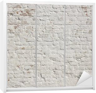 Naklejka na Szafę Białe grunge ceglany mur w tle