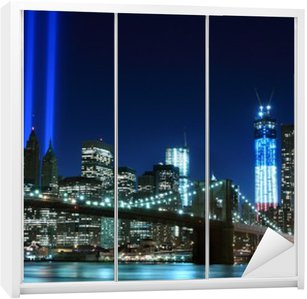 Naklejka na Szafę Brooklyn brigde i wieże światła, Nowy Jork