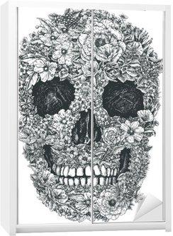 Naklejka na Szafę Czaszki wektorowych kwiaty