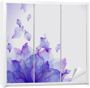 Karta Akwarela z purpurowy kwiat płatek