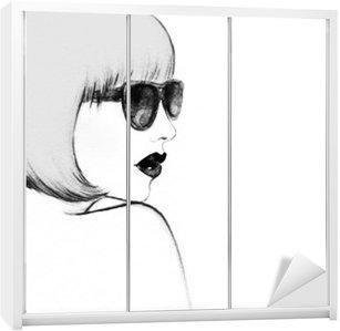 Naklejka na Szafę Kobieta w okularach. Akwarele ilustracji