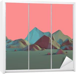 Naklejka na Szafę Low-Poly 3D krajobraz górski z Pastele