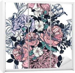 Piękny szwu z ręcznie rysowane róż i kwitnie