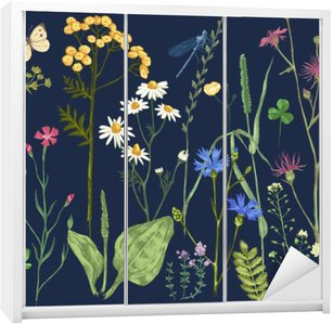Naklejka na Szafę Ręcznie rysowane zestaw z ziół i kwiatów