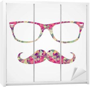 Naklejka na Szafę Retro hipster twarz ikony geometryczne