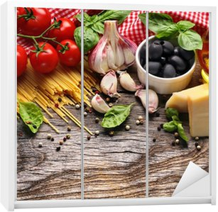Naklejka na Szafę Warzywa, zioła i przyprawy do kuchni włoskiej