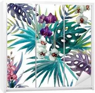 Naklejka na Szafę Wzór liści hibiskusa orchidei tropików akwarela