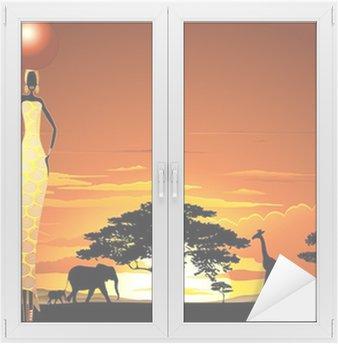 Naklejka na Szybę i Okno African Woman on Kobieta Africata Savannah Zachód-Zachód