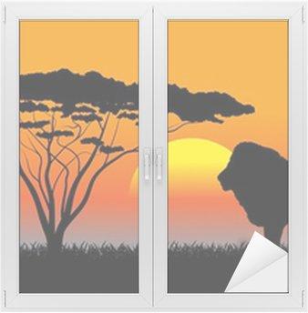 Naklejka na Szybę i Okno Afrykańskiej sawanny wieczorny krajobraz