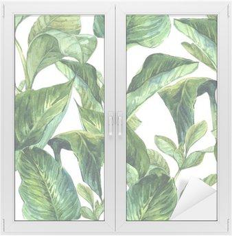 Naklejka na Szybę i Okno Akwarela Jednolite tło z tropikalnych liści