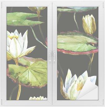 Naklejka na Szybę i Okno Akwarela lotosu wzór