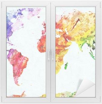 Naklejka na Szybę i Okno Akwarela mapa świata